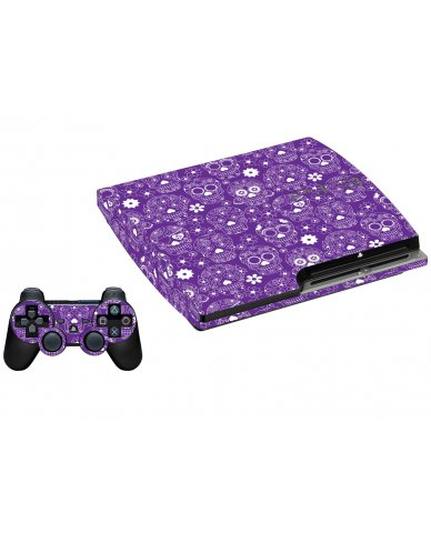 PURPLE SUGAR SKULLS PLAYSTATION 3 GAME CONSOLE SKIN