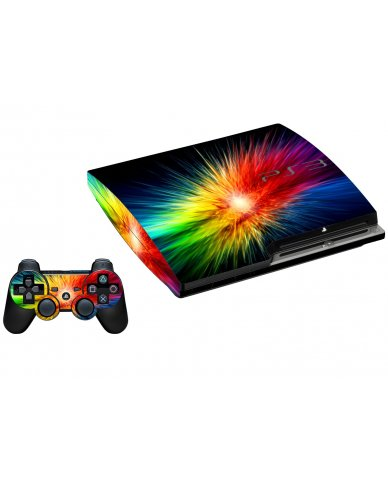 RAINBOW BURST PLAYSTATION 3 GAME CONSOLE SKIN