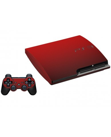 RED TEXTURED CARBON FIBER PLAYSTATION 3 GAME CONSOLE SKIN