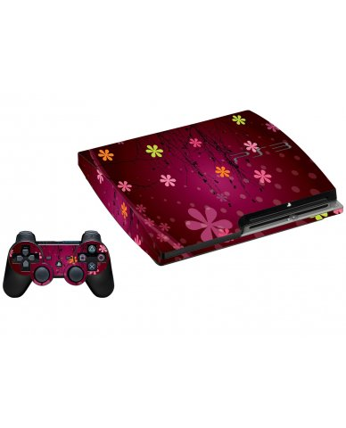 RETRO PINK FLOWERS PLAYSTATION 3 GAME CONSOLE  SKIN