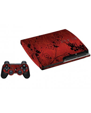 RETRO RED FLOWERS PLAYSTATION 3 GAME CONSOLE  SKIN