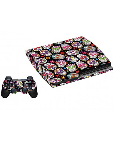 SUGAR SKULLS BLACK FLOWERS PLAYSTATION 3 GAME CONSOLE  LAPTOP SKIN
