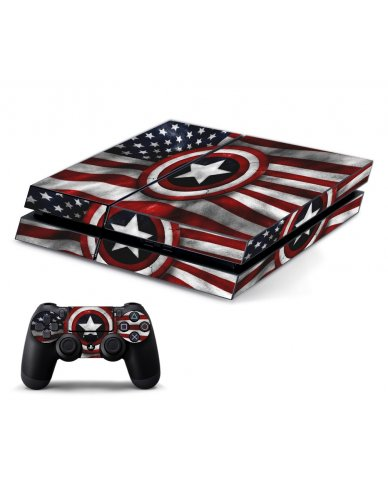 CAPTAIN AMERICA FLAG PLAYSTATION 4 GAME CONSOLE SKIN