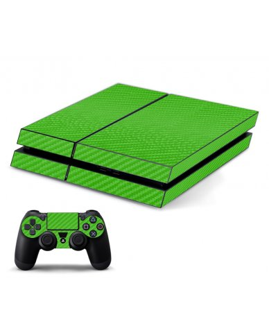 GREEN TEXTURED CARBON FIBER PLAYSTATION 4 GAME CONSOLE SKIN