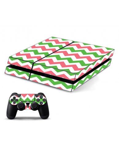 GREEN PINK CHEVRON PLAYSTATION 4 GAME CONSOLE SKIN