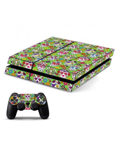 GREEN SUGAR SKULLS PLAYSTATION 4 GAME CONSOLE SKIN