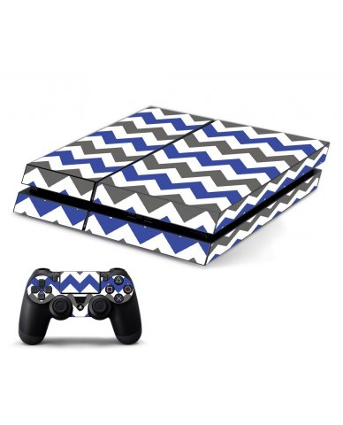 GREY BLUE CHEVRON PLAYSTATION 4 GAME CONSOLE SKIN