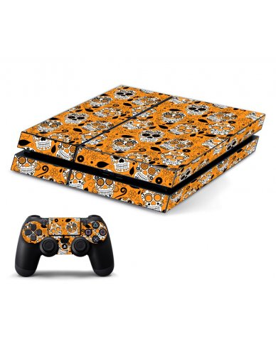 ORANGE SUGAR SKULL PLAYSTATION 4 GAME CONSOLE  SKIN