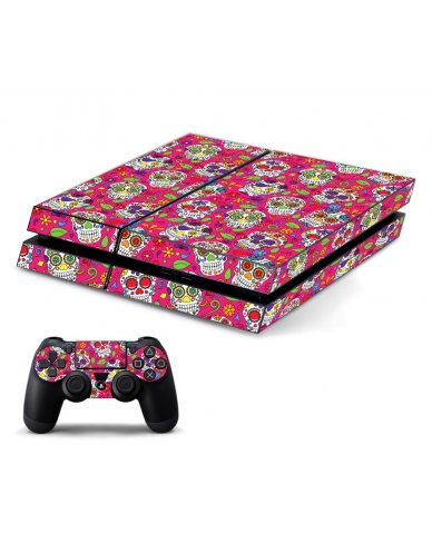 PINK SUGAR SKULLS PLAYSTATION 4 GAME CONSOLE SKIN