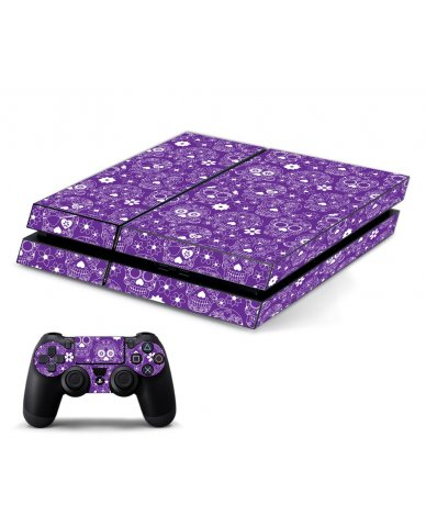 PURPLE SUGAR SKULLS PLAYSTATION 4 GAME CONSOLE SKIN