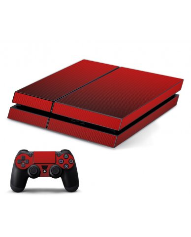 RED TEXTURED CARBON FIBER PLAYSTATION 4 GAME CONSOLE SKIN