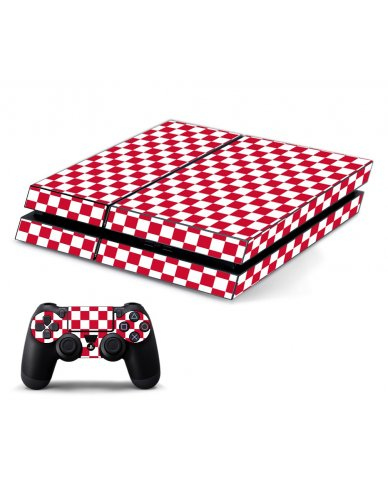 RED CHECKERED PLAYSTATION 4 GAME CONSOLE SKIN