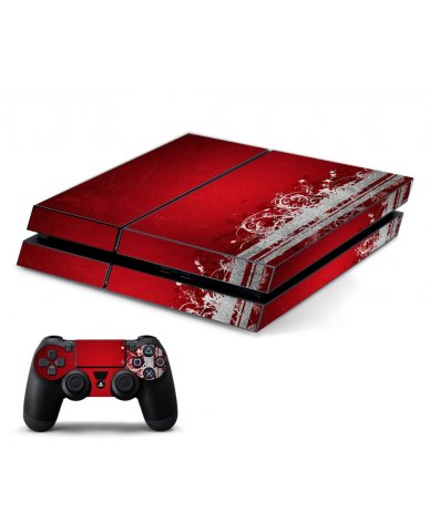 RED GRUNGE PLAYSTATION 4 GAME CONSOLE SKIN