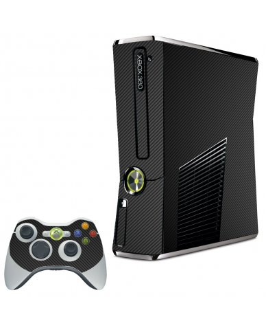 BLACK TEXTURED CARBON FIBER XBOX 360 SLIM GAME CONSOLE SKIN