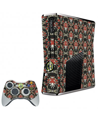 BLACK FLOWER VERSAILLES XBOX 360 SLIM GAME CONSOLE SKIN