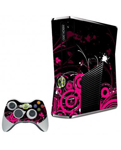 BLACK PINK BUTTERFLIES XBOX 360 SLIM GAME CONSOLE SKIN