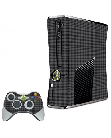 BLACK PLAID XBOX 360 SLIM GAME CONSOLE SKIN