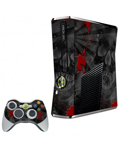 BLACK SKULL RED XBOX 360 SLIM GAME CONSOLE SKIN