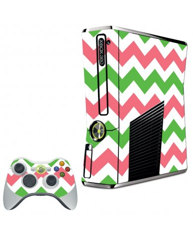 GREEN PINK CHEVRON XBOX 360 SLIM GAME CONSOLE SKIN