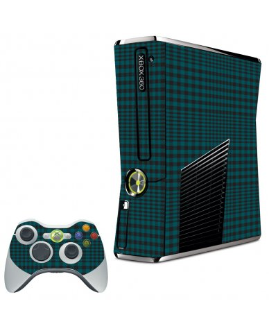 GREEN PLAID XBOX 360 SLIM GAME CONSOLE SKIN