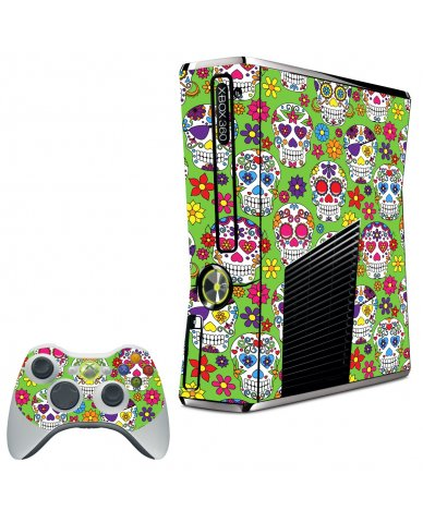 GREEN SUGAR SKULLS XBOX 360 SLIM GAME CONSOLE SKIN