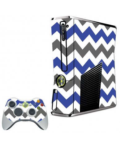 GREY BLUE CHEVRON XBOX 360 SLIM GAME CONSOLE SKIN
