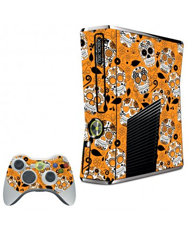 ORANGE SUGAR SKULL XBOX 360 SLIM GAME CONSOLE  SKIN