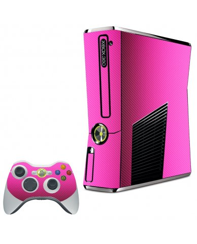 PINK TEXTURED CARBON FIBER XBOX 360 SLIM GAME CONSOLE SKIN