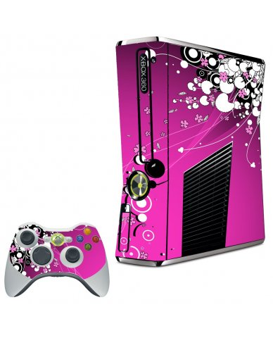 PINK FLOWERS XBOX 360 SLIM GAME CONSOLE SKIN