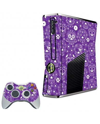 PURPLE SUGAR SKULLS XBOX 360 SLIM GAME CONSOLE SKIN