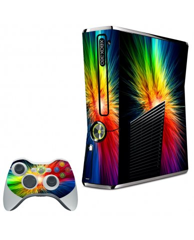 RAINBOW BURST XBOX 360 SLIM GAME CONSOLE SKIN