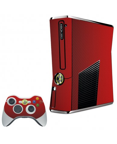 RED TEXTURED CARBON FIBER XBOX 360 SLIM GAME CONSOLE SKIN
