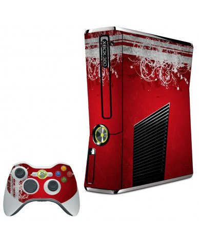 RED GRUNGE XBOX 360 SLIM GAME CONSOLE SKIN