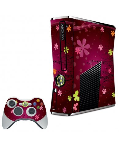 RETRO PINK FLOWERS XBOX 360 SLIM GAME CONSOLE  SKIN