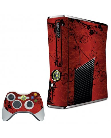 RETRO RED FLOWERS XBOX 360 SLIM GAME CONSOLE  SKIN