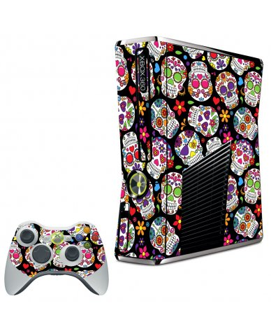 SUGAR SKULLS BLACK FLOWERS XBOX 360 SLIM GAME CONSOLE LAPTOP SKIN