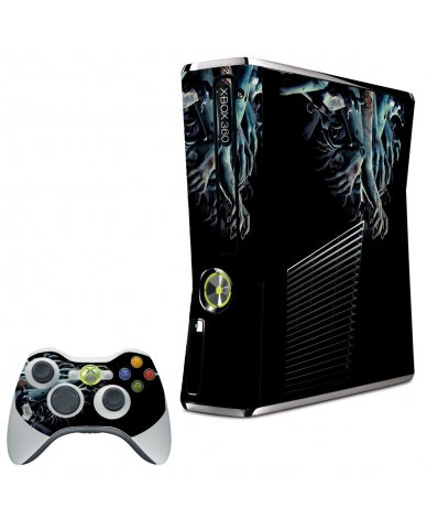ZOMBIE HANDS XBOX 360 SLIM GAME CONSOLE SKIN