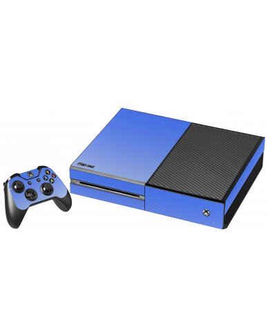 BLUE TEXTURED CARBON FIBER XBOX ONE GAME CONSOLE SKIN