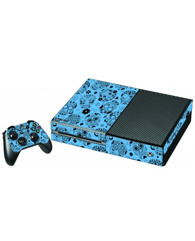 CRAZY BLUE SUGAR SKULLS XBOX ONE GAME CONSOLE SKIN