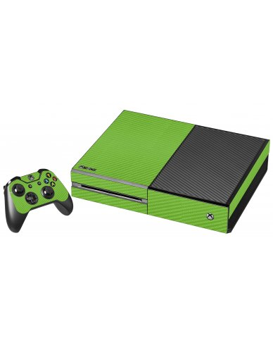 GREEN TEXTURED CARBON FIBER XBOX ONE GAME CONSOLE SKIN