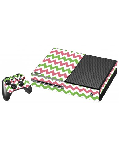 GREEN PINK CHEVRON XBOX ONE GAME CONSOLE SKIN