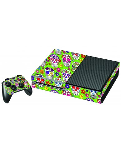 GREEN SUGAR SKULLS XBOX ONE GAME CONSOLE SKIN