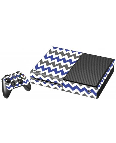 GREY BLUE CHEVRON XBOX ONE GAME CONSOLE SKIN