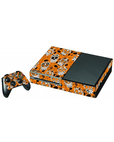 ORANGE SUGAR SKULL XBOX ONE GAME CONSOLE  SKIN