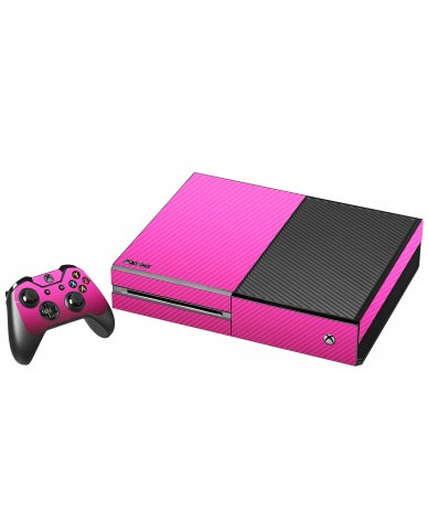 PINK TEXTURED CARBON FIBER XBOX ONE GAME CONSOLE SKIN