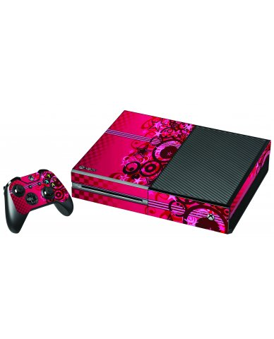 PINK GRUNGE STARS XBOX ONE GAME CONSOLE SKIN