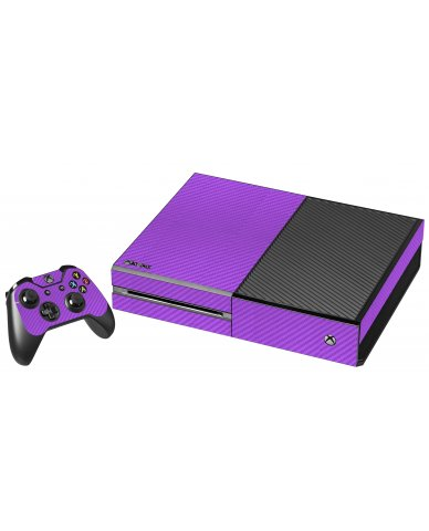 PURPLE TEXTURED CARBON FIBER XBOX ONE GAME CONSOLE  SKIN