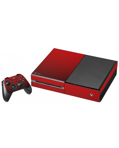 RED TEXTURED CARBON FIBER XBOX ONE GAME CONSOLE SKIN