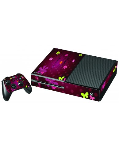 RETRO PINK FLOWERS XBOX ONE GAME CONSOLE  SKIN