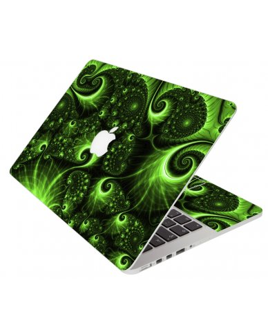 Green Swirls Apple Macbook Pro 13 Retina A1502 Laptop Skin